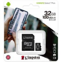 KINGSTON CANVAS SELECT PLUS MICRO SDHC 32GB + ADAPTER CLASS 10 UHS-I U1 A1 V10 (100 MB/s)