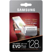 SAMSUNG MICRO SDXC 128GB + ADAPTER CLASS 10 UHS-I U3 EVO+ 100 MB/s OLVASÁSI SEBESSÉG