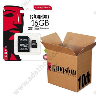 KINGSTON CANVAS SELECT MICRO SDHC 16GB + ADAPTER CLASS 10 UHS-I U1 - 10 DB-OS CSOMAG