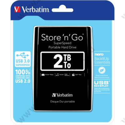 VERBATIM USB 3.0 HDD 2,5 STORE N GO 2TB FEKETE