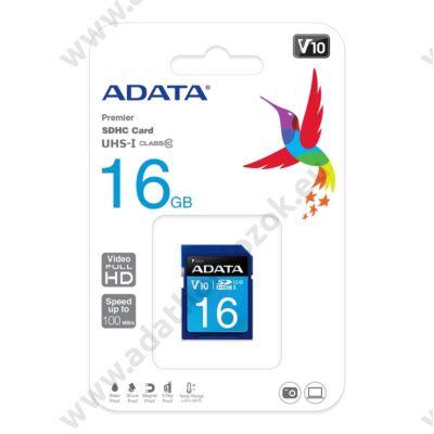 ADATA PREMIER SDHC 16GB CLASS 10 UHS-I U1 V10 100/25 MB/s