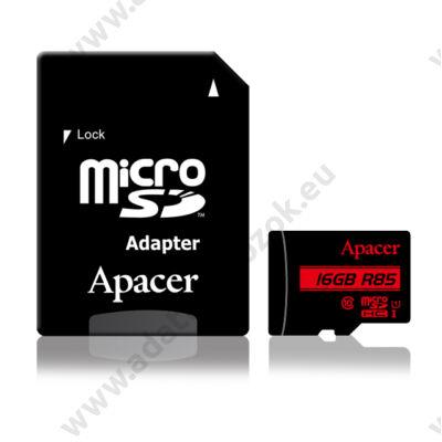APACER R85 MICRO SDHC 16GB + ADAPTER CLASS 10 UHS-I U1 (85 MB/s OLVASÁSI SEBESSÉG)