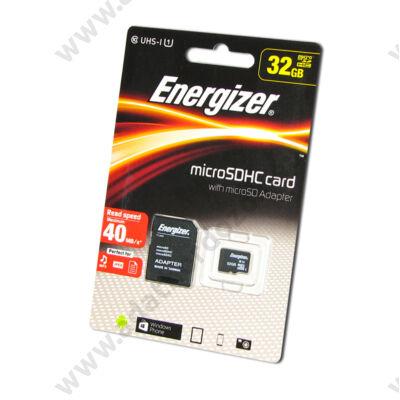 ENERGIZER MICRO SDHC 32GB + ADAPTER UHS-I CLASS 10 (40 MB/s OLVASÁSI SEBESSÉG)