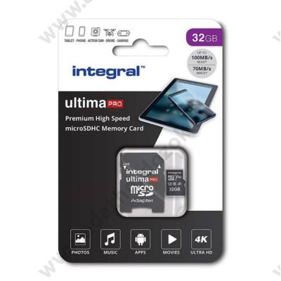 INTEGRAL ULTIMA PRO MICRO SDHC 32GB + ADAPTER CLASS 10 UHS-I U3 A1 V30 100/70 MB/s