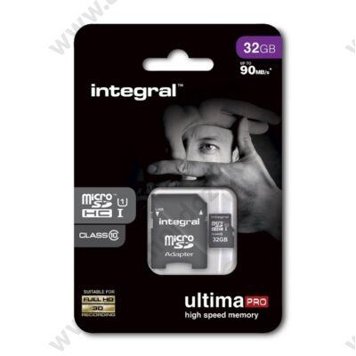 INTEGRAL ULTIMA PRO MICRO SDHC 32GB + ADAPTER CLASS 10 UHS-I U1 (90 MB/s OLVASÁSI SEBESSÉG)