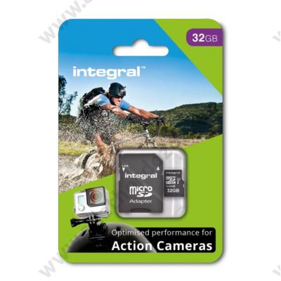 INTEGRAL ACTION CAMERA MICRO SDHC 32GB + ADAPTER CLASS 10 UHS-I U3 95/60 MB/s