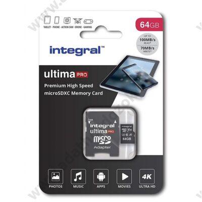 INTEGRAL ULTIMA PRO MICRO SDXC 64GB + ADAPTER CLASS 10 UHS-I U3 A1 V30 100/70 MB/s