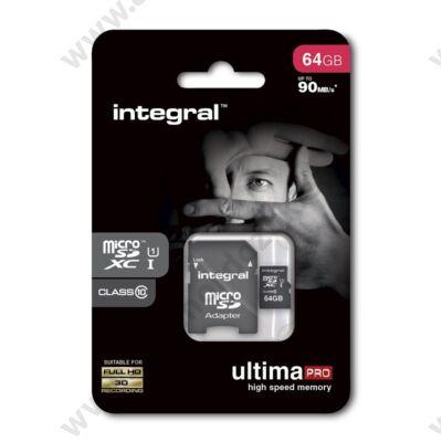 INTEGRAL ULTIMA PRO MICRO SDXC 64GB + ADAPTER CLASS 10 UHS-I U1 (90 MB/s OLVASÁSI SEBESSÉG)