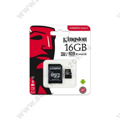 KINGSTON CANVAS SELECT MICRO SDHC 16GB + ADAPTER CLASS 10 UHS-I U1 (80 MB/s OLVASÁSI SEBESSÉG)
