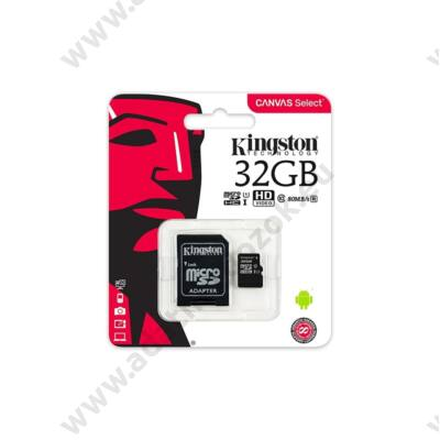 KINGSTON CANVAS SELECT MICRO SDHC 32GB + ADAPTER CLASS 10 UHS-I U1 (80 MB/s OLVASÁSI SEBESSÉG)