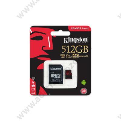 KINGSTON CANVAS REACT MICRO SDXC 512GB + ADAPTER CLASS 10 UHS-I U3 A1 V30 100/80 MB/s