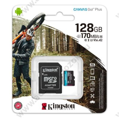 KINGSTON CANVAS GO PLUS MICRO SDXC 128GB + ADAPTER CLASS 10 UHS-I U3 A2 V30 170/90 MB/s