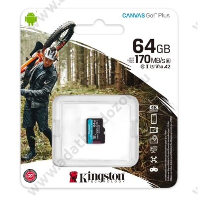 KINGSTON CANVAS GO PLUS MICRO SDXC 64GB CLASS 10 UHS-I U3 A2 V30 170/70 MB/s
