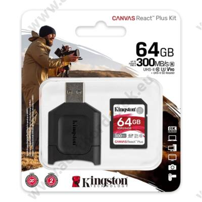 KINGSTON CANVAS REACT PLUS KIT SDXC 64GB CLASS 10 UHS-II U3 V90 300/260 MB/s