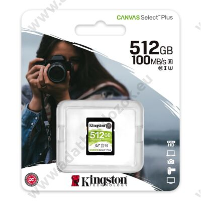 KINGSTON CANVAS SELECT PLUS SDXC 512GB CLASS 10 UHS-I U3 V30 100/85 MB/s