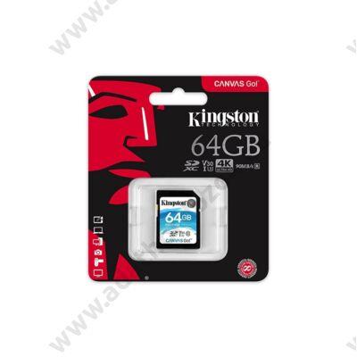 KINGSTON CANVAS GO SDXC 64GB CLASS 10 UHS-I U3 V30 (90 MB/s OLVASÁSI - 45 MB/s ÍRÁSI SEBESSÉG)