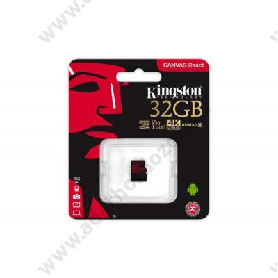 KINGSTON CANVAS REACT MICRO SDHC 32GB CLASS 10 UHS-I U3 A1 V30 (100 MB/s OLVASÁSI - 80 MB/s ÍRÁSI SEBESSÉG)