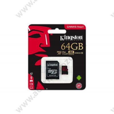 KINGSTON CANVAS REACT MICRO SDXC 64GB + ADAPTER CLASS 10 UHS-I U3 A1 V30 (100 MB/s OLVASÁSI - 80 MB/s ÍRÁSI SEBESSÉG)