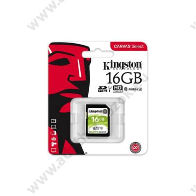 KINGSTON CANVAS SELECT SDHC 16GB CLASS 10 UHS-I U1 (80 MB/s OLVASÁSI - 10 MB/s ÍRÁSI SEBESSÉG)