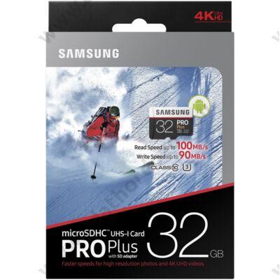 SAMSUNG MICRO SDHC 32GB + ADAPTER CLASS 10 UHS-I U3 PRO+ 100 MB/S OLVASÁSI SEBESSÉG