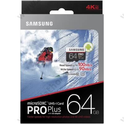 SAMSUNG MICRO SDXC 64GB + ADAPTER CLASS 10 UHS-I U3 PRO+ 100 MB/S OLVASÁSI SEBESSÉG
