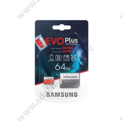 SAMSUNG EVO PLUS (2020) MICRO SDXC 64GB + ADAPTER CLASS 10 UHS-I U1 100/20 MB/s