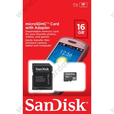 SANDISK MICRO SDHC 16GB + ADAPTER CLASS 4
