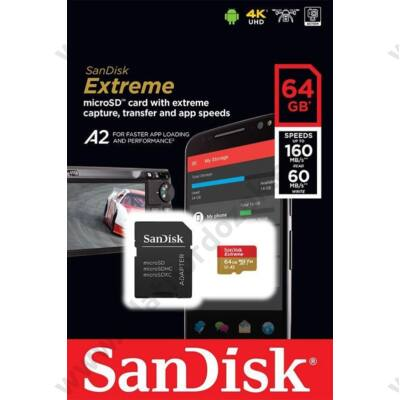 SANDISK EXTREME MOBILE MICRO SDXC 64GB + ADAPTER CLASS 10 UHS-I U3 A2 V30 160/60 MB/s