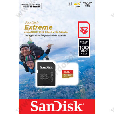 SANDISK EXTREME ACTION MICRO SDHC 32GB + ADAPTER CLASS 10 UHS-I U3 A1 V30 100/60 MB/s