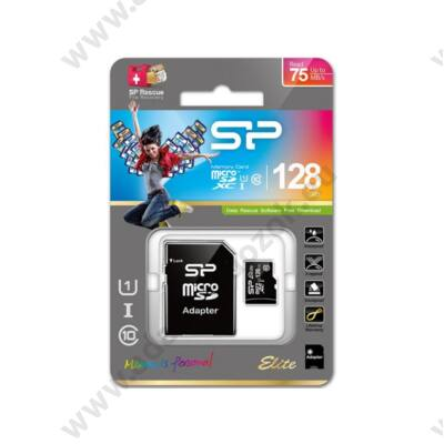 SILICON POWER ELITE MICRO SDXC 128GB + ADAPTER CLASS 10 UHS-I U1 (75 MB/s OLVASÁSI SEBESSÉG)