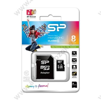 SILICON POWER MICRO SDHC 8GB + ADAPTER CLASS 10