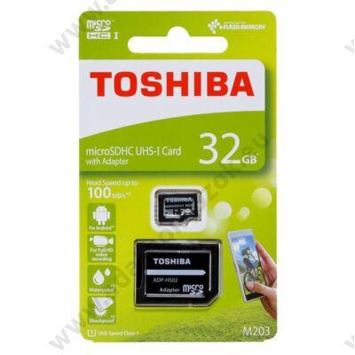 TOSHIBA MICRO SDHC 32GB + ADAPTER CLASS 10 UHS-I U1 (100 MB/s OLVASÁSI SEBESSÉG)