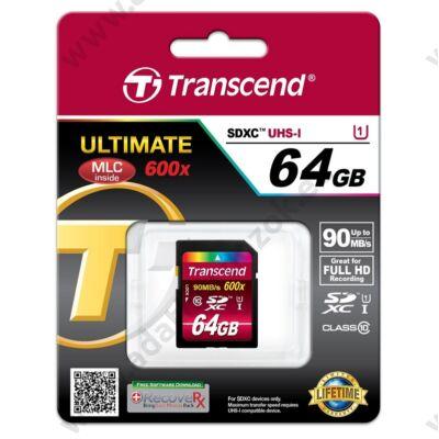 TRANSCEND ULTIMATE 600X SDXC 64GB CLASS 10 UHS-I (90 MB/S OLVASÁSI SEBESSÉG)