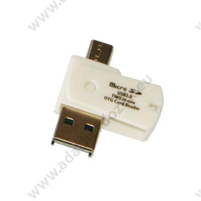 USB 2.0/MICRO USB OTG MEMÓRIAKÁRTYA OLVASÓ FEHÉR