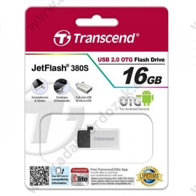 TRANSCEND USB 2.0 OTG PENDRIVE JETFLASH 380 16GB EZÜST