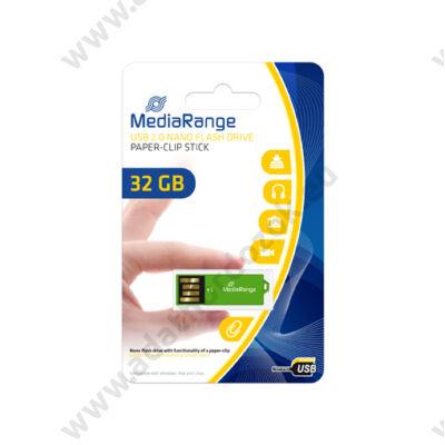 MEDIARANGE USB 2.0 PENDRIVE NANO PAPER-CLIP STICK 32GB ZÖLD MR977