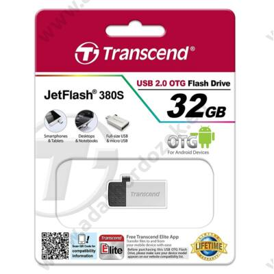 TRANSCEND USB 2.0 OTG PENDRIVE JETFLASH 380 32GB EZÜST