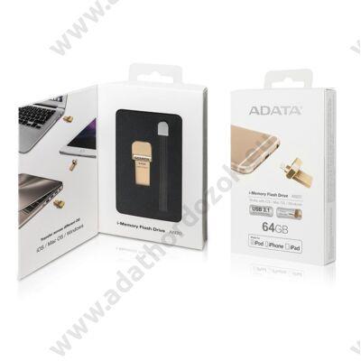 ADATA AI920 I-MEMORY USB 3.1/APPLE LIGHTNING PENDRIVE 64GB ARANY