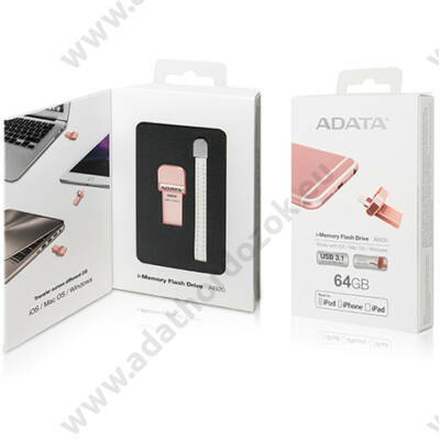 ADATA AI920 I-MEMORY USB 3.1/APPLE LIGHTNING PENDRIVE 64GB ROZÉ ARANY