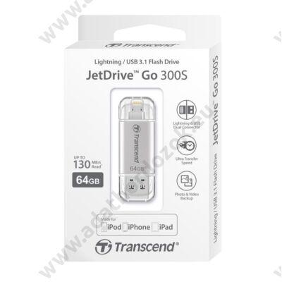 TRANSCEND USB 3.1/APPLE LIGHTNING PENDRIVE JETDRIVE GO 300S 64GB EZÜST