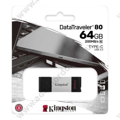 KINGSTON DATATRAVELER 80 USB-C 3.2 GEN 1 PENDRIVE 64GB