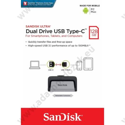 SANDISK ULTRA DUAL DRIVE USB 3.1 TYPE-C/USB 3.1 OTG PENDRIVE 128GB